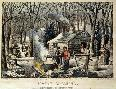 Currier and Ives Maple Sugaring  -  Early Spring In The Northern Woods