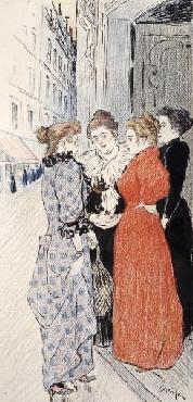 Theophile Alexandre Steinlen Women Conversing In The Street Giclee on Canvas