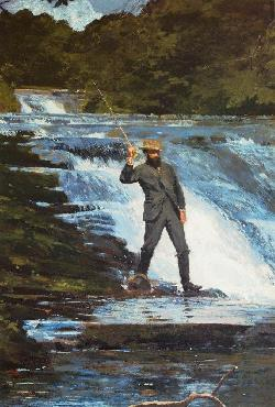 Winslow Homer Fishing The Falls Giclee on Canvas