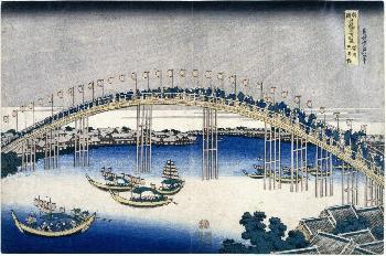 Katsushika Hokusai The Festival Of Lanterns On Temma Bridge,ca. 1827 - 183 Giclee on Canvas