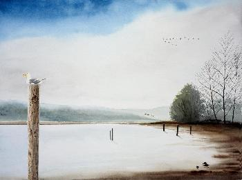 Emmeline Craig Bolinas Lagoon With Seagull Giclee on Canvas