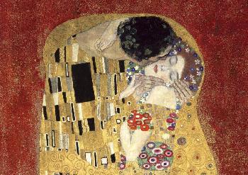 Gustav Klimt Kiss, Detail (red Variation) Giclee on Canvas