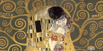 Gustav Klimt Kiss, Detail (grey Variation) Giclee on Canvas