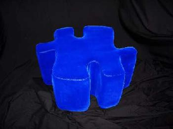 Meri Berghauer Royal Blue Puzzle Foot Stool