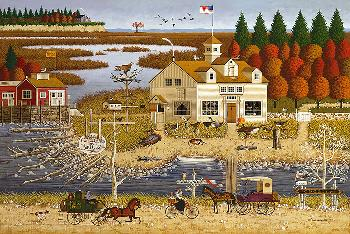 Charles Wysocki Carver Coggins Open Edition Giclee on Canvas