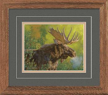 Lee Kromschroeder Crisp Fall Morning - Moose Framed Deluxe Open Edition