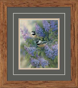 Rosemary Millette Chickadees and Lilacs Framed Deluxe Open Edition