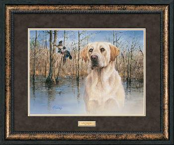 James Killen Marsh Memories - Yellow Lab and Wood Ducks Framed Deluxe Open Edition