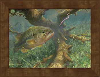 Mark Susinno Tight to Cover - Largemouth Bass Framed Open Edition on Canvas