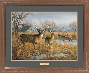 Jim Hautman Our Side of the River-Whitetail Deer and Mallards Framed Premium Edition