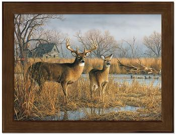Jim Hautman Our Side of the River - Deer Framed Open Edition on Canvas
