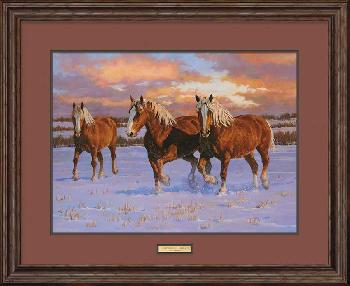 Chris Cummings Winter Gold - Belgians Framed Remarque on Paper