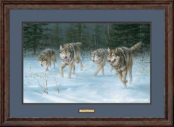 Jim Hautman On the Move - Wolves Framed Remarque on Paper