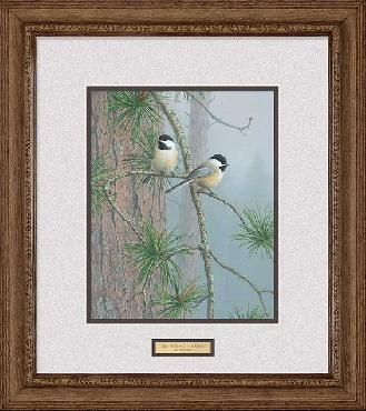 Jim Hautman Red Pine and Chickadees Framed