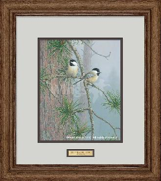 Jim Hautman Red Pine and Chickadees Framed Remarque on Paper
