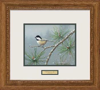 Jim Hautman Winter Snowfall - Chickadee Framed Signed Open Edition