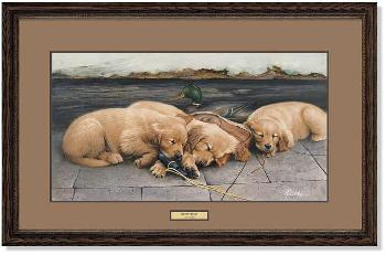 James Killen Golden Dreams - Golden Retriever Puppies Framed Remarqued