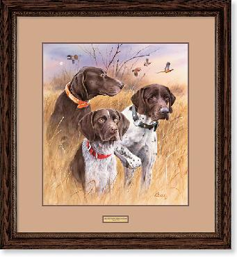 James Killen Great Hunting Dogs - German Shorthair Pointers Framed Remarqued