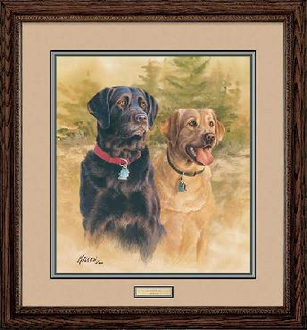 James Killen A Good Pair - Black and Yellow Labs Framed