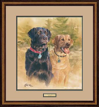 James Killen A Good Pair - Black and Yellow Labs Framed Remarqued