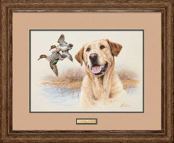James Killen In the Marsh - Yellow Lab Framed Remarqued
