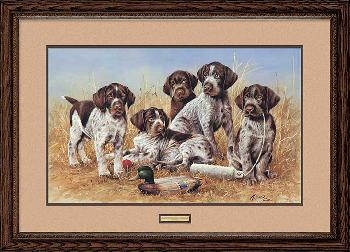 James Killen Great Hunting Puppies - Drahthaars Framed Remarqued