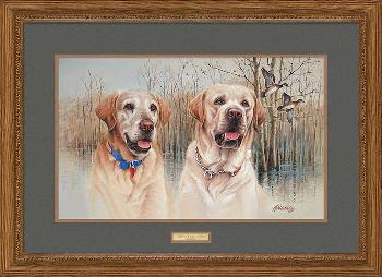 James Killen Old Buck and Young Jeb - Yellow Labs Framed
