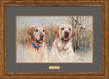 James Killen Old Buck and Young Jeb - Yellow Labs Framed Remarqued