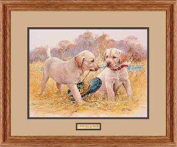 James Killen Thats My Puppy - Yellow Labs Framed