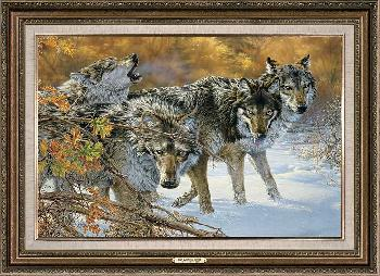 Lee Kromschroeder Body Language - Timber Wolves Framed Signed Open Edition on Canvas