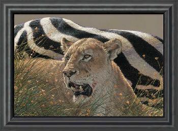 Lee Kromschroeder Ngorongoro Morning - Lioness Framed Canvas