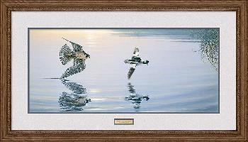 Lee Kromschroeder Pursuit on Deck - Peregrin Falcon Framed