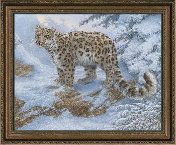 Lee Kromschroeder Snow Flurries - Snow Leopard Framed Canvas