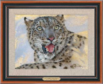 Lee Kromschroeder Spots and Stripes - Snow Leopard Framed Giclee on Canvas