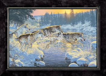 Lee Kromschroeder Through the Woods - Wolves Framed Giclee on Canvas