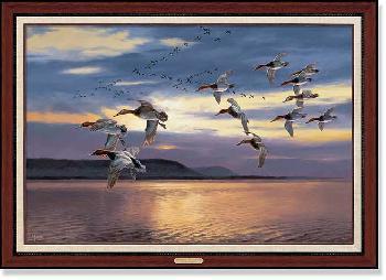 David Maass Daybreak at Lake Pepin - Canvasbacks Framed Canvas