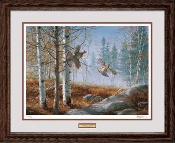 David Maass A Morning Double - Ruffed Grouse Framed Artist