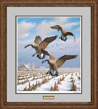 David Maass Winter Wonder - Canada Geese Framed Remarque on Paper