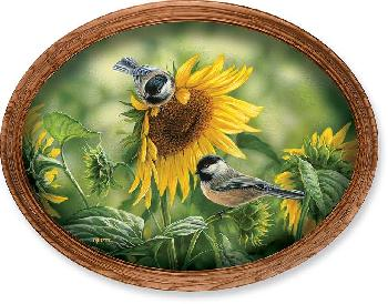 Rosemary Millette Check the Harvest - Chickadees Framed Oval Canvas