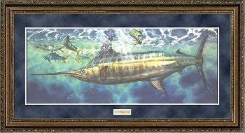 Don Ray Closing In - Blue Marlin Framed