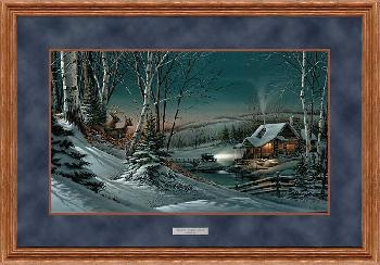 Terry Redlin Evening with Friends Framed Deluxe Oak Elite Open Edition on Paper