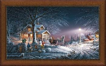 Terry Redlin Winter Wonderland Framed Premium Museum Canvas