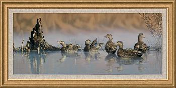 Scot Storm Spring Mist - Black Ducks Framed Canvas