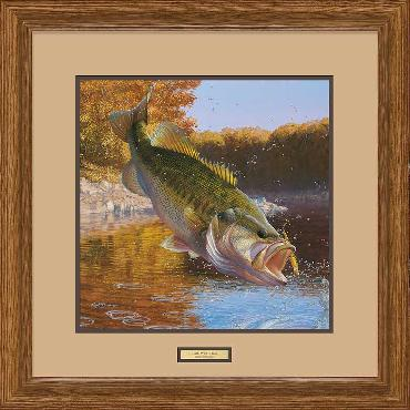 Mark Susinno Cartwheeling - Largemouth Bass Framed Remarqued
