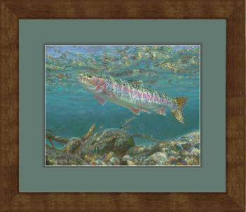 Mark Susinno Awaiting the Spinner Fall - Rainbow Trout Framed Color Remarque Edition
