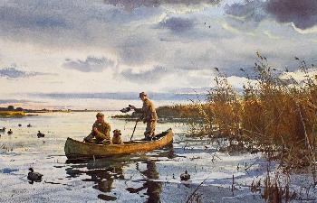 Ogden Pleissner Setting Up on Horshoe Pond - Delta Marsh Signed Limited Edition on Paper
