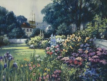 Paul Landry Seaport Garden, Mystic Giclee on Canvas