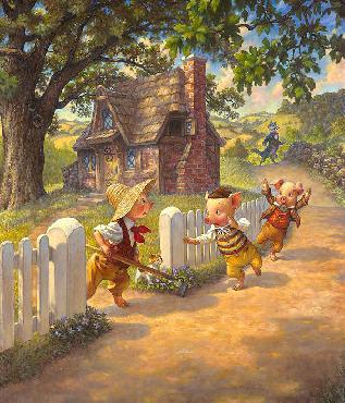 Scott Gustafson Three Little Pigs Open Edition Giclee on Canvas