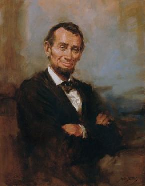 Andy Thomas Abe Lincoln Smiling Giclee on Canvas