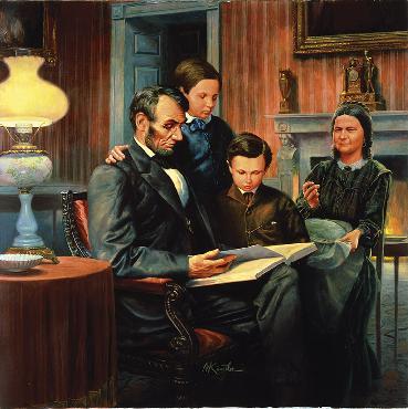 Mort Kunstler Abraham Lincoln, Family Man Giclee on Canvas